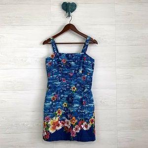 VTG Handmade Hawaiian Blue Floral Mini Dress